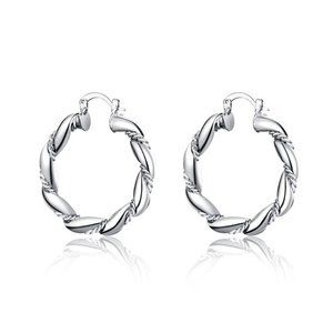 925 SS Plated Twisted Rope Earrings